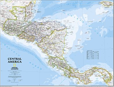 Central America Wall Map (Natl. Geographic) | Mexico Maps | Wall ...