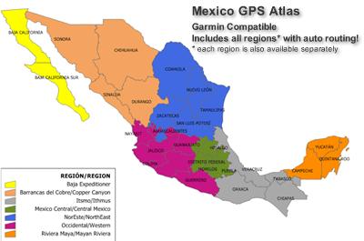 Mexico GPS Atlas V All Regions Mexico Maps GPS Maps Mexico - Mexico regions map